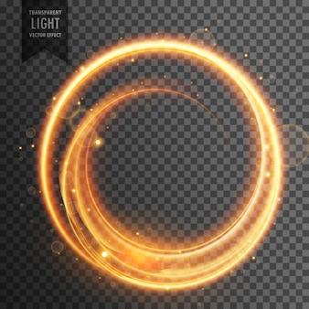 円形ゴールデンライト透明レンズフレア効果