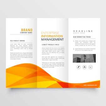 Трехкратная брошюра дизайн корпоративного бизнес-шаблона с оранжевой волнистой формой