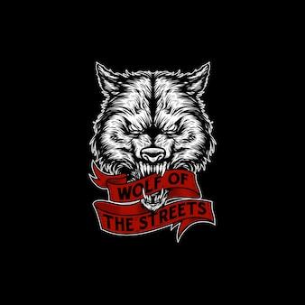 オオカミの頭のイラストデザイン