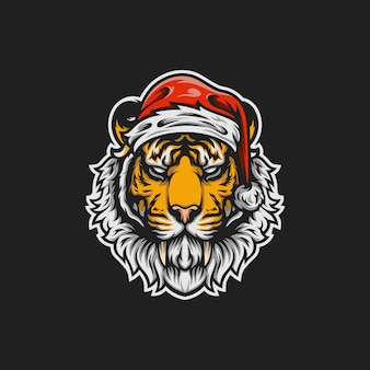 サンタ虎のマスコットイラスト