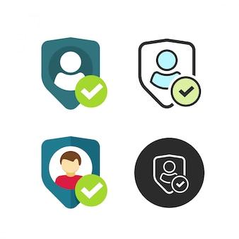ユーザーのプライバシーシールド記号またはフラット漫画とラインのアウトラインスタイルの個人保護のベクトルのアイコン