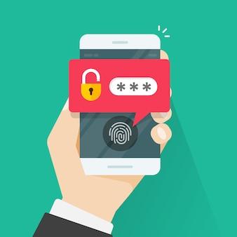 携帯電話の指紋ボタンとパスワード通知ベクトル