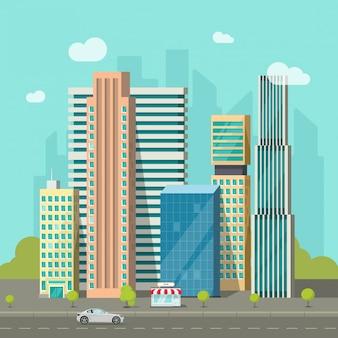Городские здания возле дороги