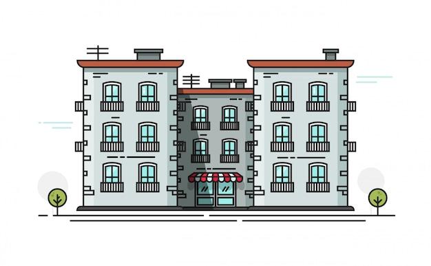 フラット漫画ラインアウトラインデザインの校舎のベクトル図正面図