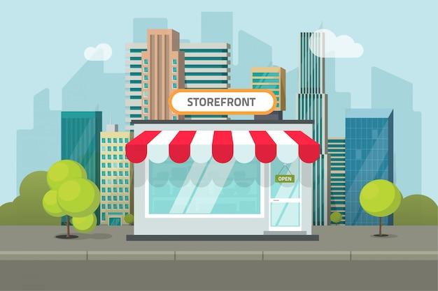 フラットな漫画のスタイルで町の通りの風景の上の店や店舗の建物
