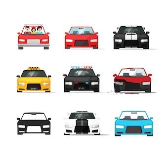 Автомобили или автомобиль установлен вектор плоский мультфильм