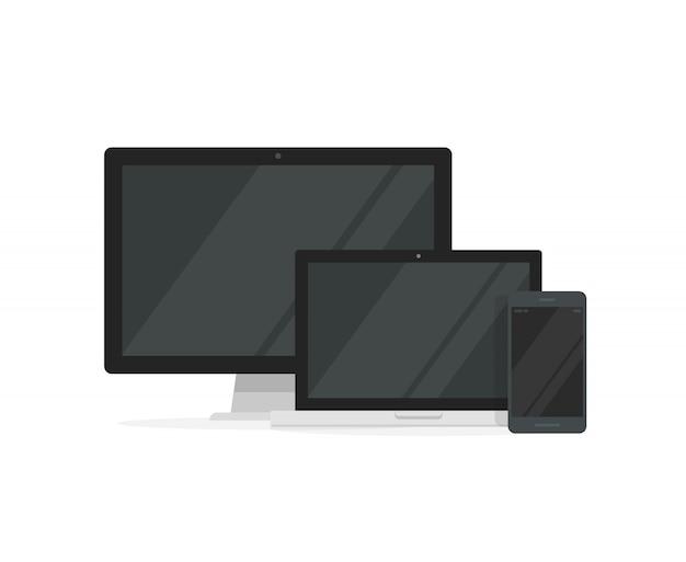 Настольный пк с ноутбуком и смартфоном для адаптивного дизайна
