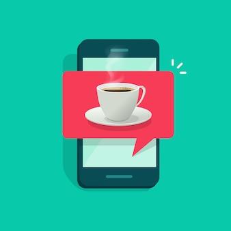 Чашка кофе на мобильном телефоне или мобильном телефоне