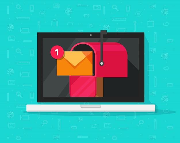 画面上のメールボックスと受信した新しいメッセージを持つラップトップコンピューター