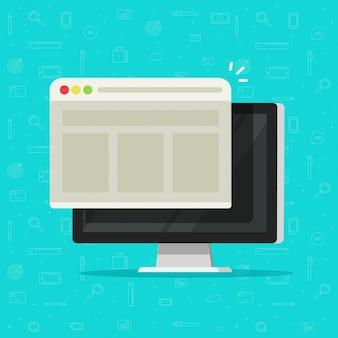 Окно веб-браузера на дисплее компьютера плоский мультфильм