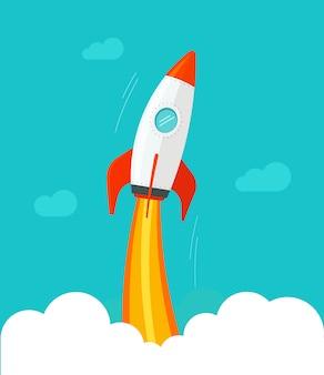 Ракетный корабль летит из облаков и неба плоский мультфильм комический дизайн
