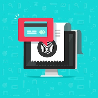コンピューター上のクレジットカードまたは指紋によるワイヤレスペイテクノロジーを介したオンライン支払い