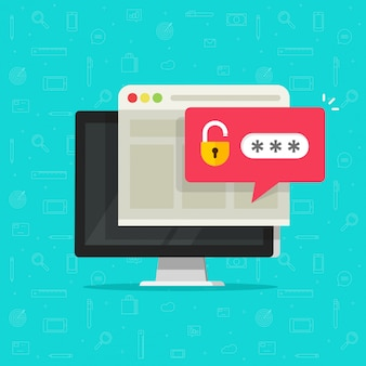 ロック解除されたパスワードバブル通知フラット漫画とデスクトップコンピューター