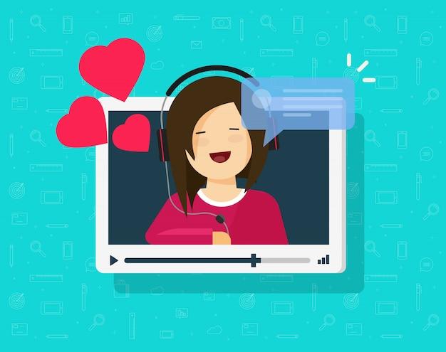 幸せな素敵な女の子のビデオ通話