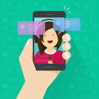 携帯電話のイラストで携帯電話やメッセージの通知バブルで幸せな女の子とチャット