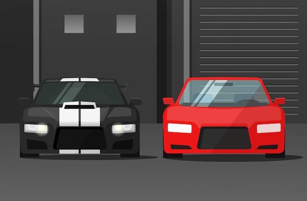 暗い通りのスポーツ車や自動車の正面図