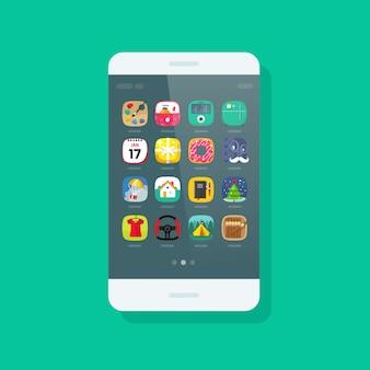 Мобильный телефон или мобильный телефон с иконками приложений плоский мультфильм