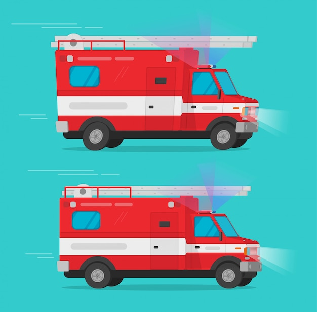 Пожарно-спасательные машины скорой помощи или пожарная машина грузовик фургон векторная иллюстрация плоский мультфильм клипарт
