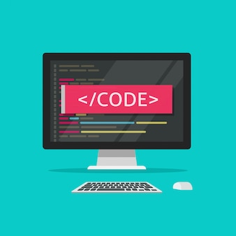 コンピューター画面またはプログラム開発イラスト漫画フラットスタイルクリップアートのプログラミングコード