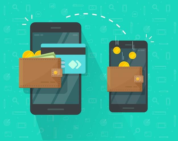 Денежный перевод через мобильный телефон или мобильный телефон изолированных иллюстрация плоский мультфильм