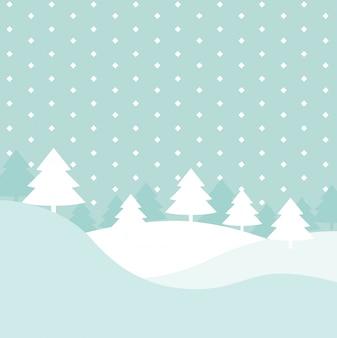 Зимние холмы сцена с рождественскими елками и геометрической иллюстрацией снега