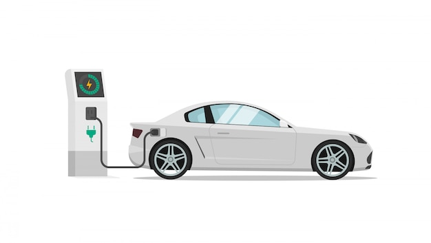 Иллюстрация электромобиля или автомобильной зарядной станции