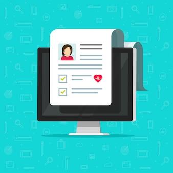 Медицинский документ на значке экрана компьютера или пк с результатами онлайн здорового электронного контрольного списка
