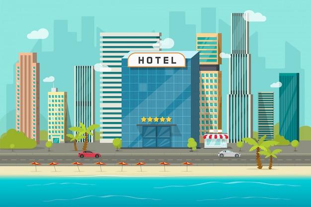 Отель рядом с видом на море или океан, векторная иллюстрация, плоское здание мультяшного отеля на пляже, уличная дорога и большой городской пейзаж с небоскребами, панорама городского пейзажа