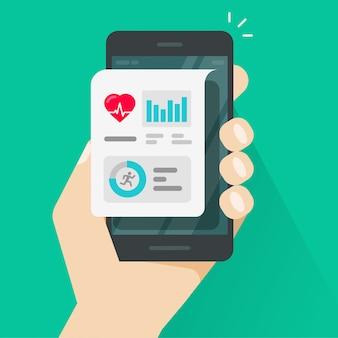 Лицо, занимающее приложение для отслеживания здоровья или фитнеса на мобильном телефоне