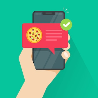Телефон с пиццей на экране мобильного телефона плоской иллюстрации шаржа