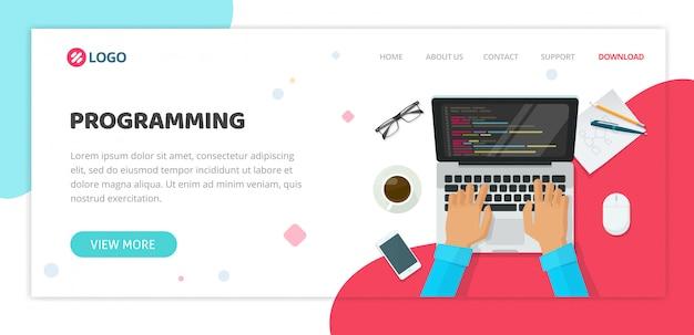 コンピュータープログラミングまたはコーディングサービス代理店のウェブサイトテンプレート