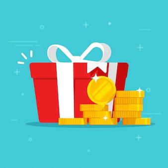 お金の入ったギフトボックスがプレゼントを獲得または現金の幸せなプレゼント