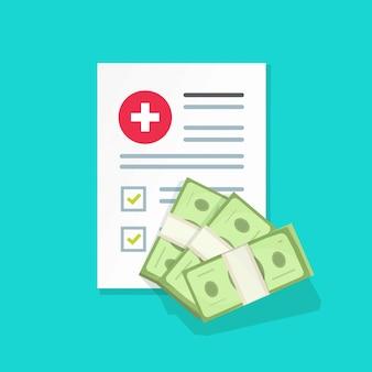 Иллюстрация медицинского документа и денег, плоская форма медицинской страховки с кучей денег