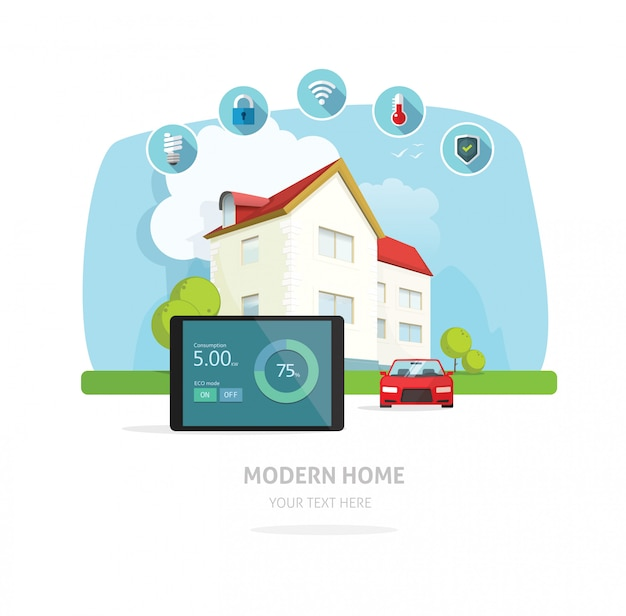 スマートホームモダンな将来の家のベクトル図