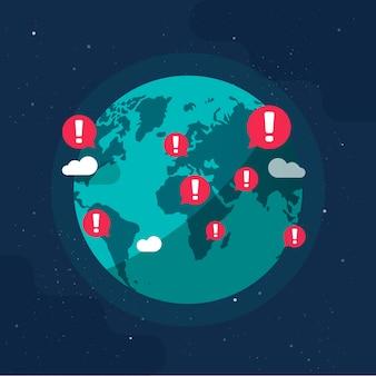 Планета земля глобальные предупреждения об эпидемиях или предупреждение военных конфликтов опасность поет на земном шаре плоский мультфильм иллюстрации