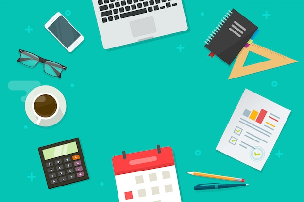 監査分析と研究のものとテキストイラストフラット漫画平面図のコピースペースのビジネス職場のデスクトップまたは金融作業デスク