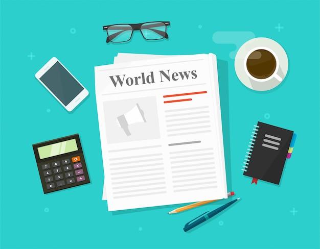 新聞や毎日のプレスニュース紙折りたたみ雑誌の色の背景上に分離されて働くビジネスオフィステーブルデスクフラットイラスト