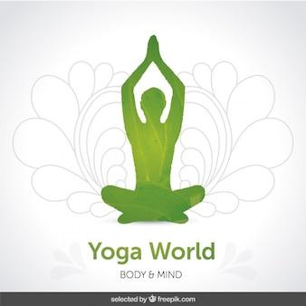 Зеленый силуэт йоги фон
