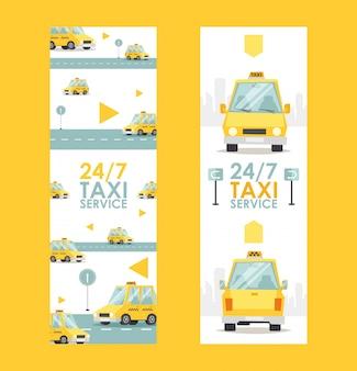 Круглосуточное знамя обслуживания такси, иллюстрация. быстрая и надежная реклама компании такси.