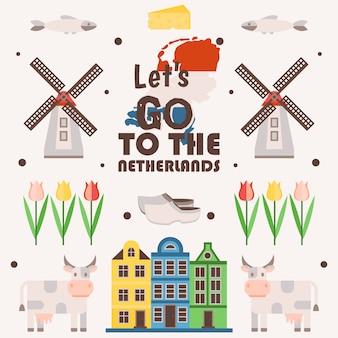 オランダ旅行のポスター、イラスト。主なオランダの観光名所のシンボル、フラットスタイルのシンプルなアイコン。伝統的な風車、チューリップ、古い家、牛