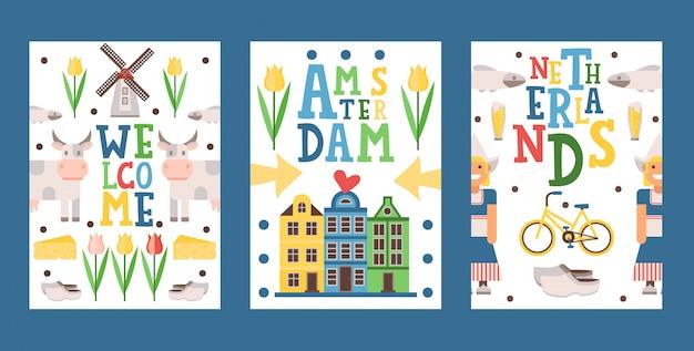 オランダ旅行バナー、イラスト。ツアー小冊子の表紙、はがきのデザイン、主要なオランダの観光名所のアイコンが付いたお土産カード