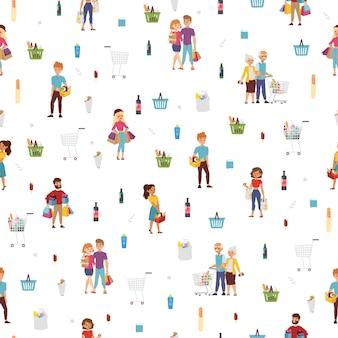 ショッピングの人々のシームレスパターン