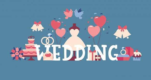 結婚式の活版印刷のポスター