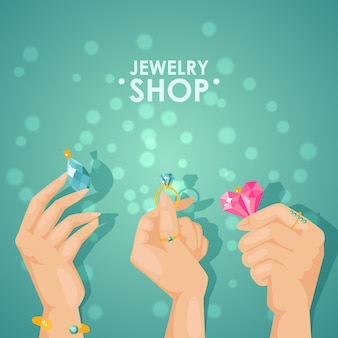 宝石店のポスター、宝石を持っている手