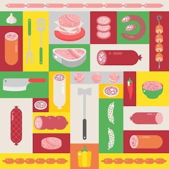 Коллаж мясной лавки, набор иконок с мясом и колбасами