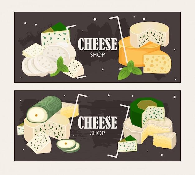 Баннер в магазине сыров. различные виды сыров, вкусные натуральные молочные продукты.