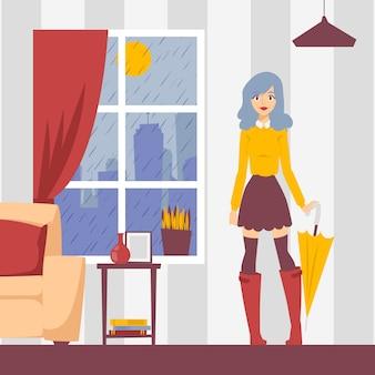 イラストのアパートで傘を持つ少女。ウィンドウの雨の天気、外に出る準備ができてスタイリッシュな服装の若い女性。ファッションモデルの漫画のキャラクター、美しい少女