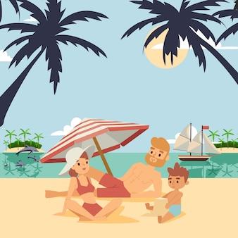 Семья на иллюстрации летних каникулов.