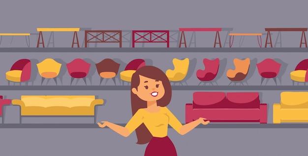 Презентация мебельного магазина. женщина продавец мультипликационный персонаж. коллекция современной мебели