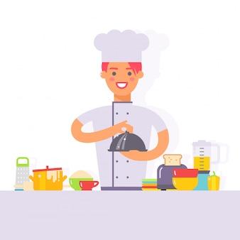 Женщина шеф-повар мультипликационный персонаж, приготовление пищи на кухне простой плоский стиль